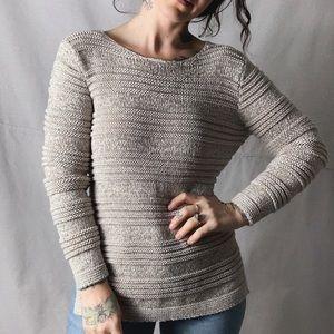 DANA BUCHMAN Textured Stretch Knit Tan Sweater